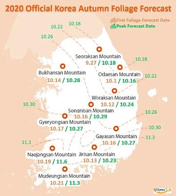 2020 Forecast for Autumn Foliage in Korea
