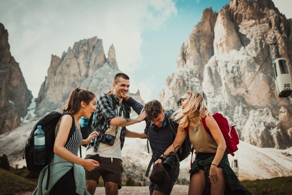 Friends laughing on mountain